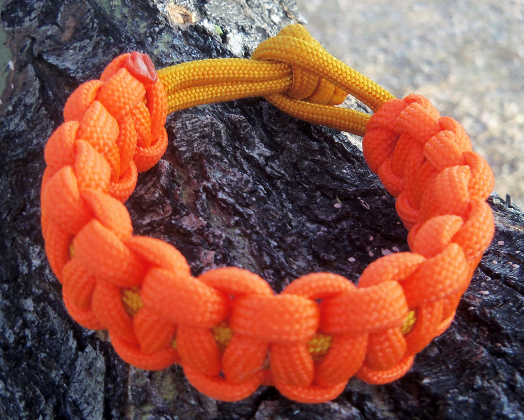 Orange Gold Handmade Custom Paracord Parachute Survival Bracelet Survivalist Gift Outdoor Husband Father's Day Fishing Camping Hunting Climb