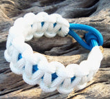 White and Blue Handmade Para cord Parachute Bracelet Survivalist Gift Dad Boy Friend Father's Day Fishing Camping Hunting Climbing