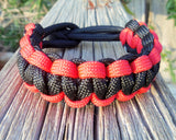 Red and Black Handmade Custom Paracord Parachute Survival Bracelet Outdoor Gift Husband Father's Day Fishing Camping Hunting Climb