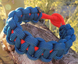 Aqua Blue and Orange Handmade Custom Paracord Survival Bracelet Outdoor Gift Husband Father's Day Son Sports Fan