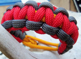 Handmade Parachute Rope Survival Bracelet Red, Gold, Gray - Dad Father's Day Boyfriend Son Boy Scout