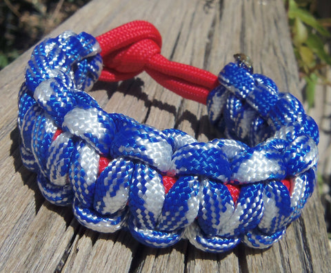 Paracord Survival Bracelet made Patriotic Red White and Blue Great Gift for Memorial Day Fourth of July Outdoorsmen or Sports Fan