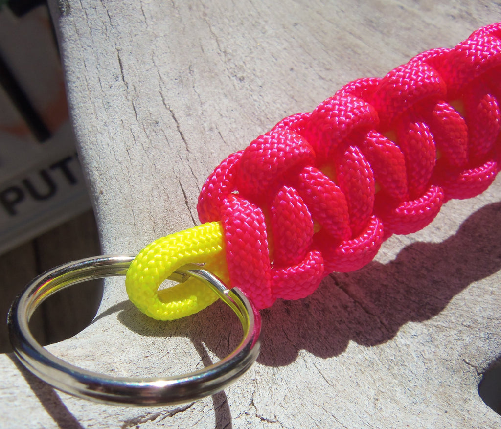 Handmade by Kids Hot Pink and Fluorescent Yellow Survival Paracord Keychain Key Fob Accessory