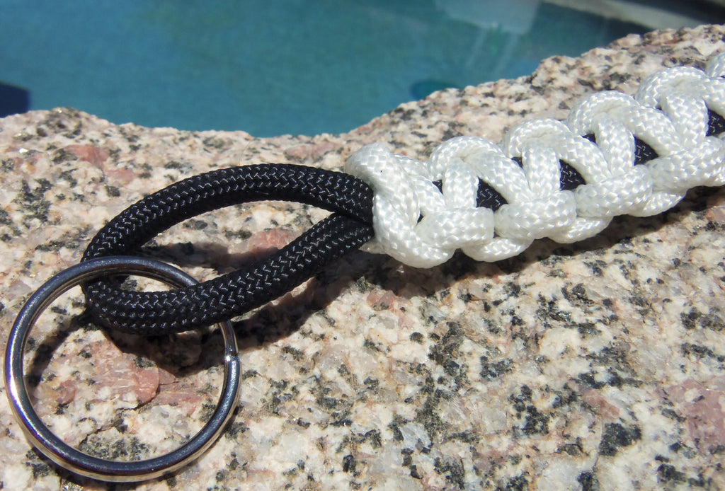 Handmade by Kids White and Black Survival Paracord Key chain Keyring Accessory - Camping Hiking Backpacking Fishing