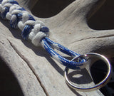 Handmade by Kids Blue and White Survival Paracord Key chain Keyring Accessory - Camping Hiking Backpacking Fishing