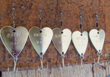 Five Personalized Handstamped Wedding Day Heart Fishing Lures Father of Groom Father of Bride Dad Husband Best Man Groomsmen