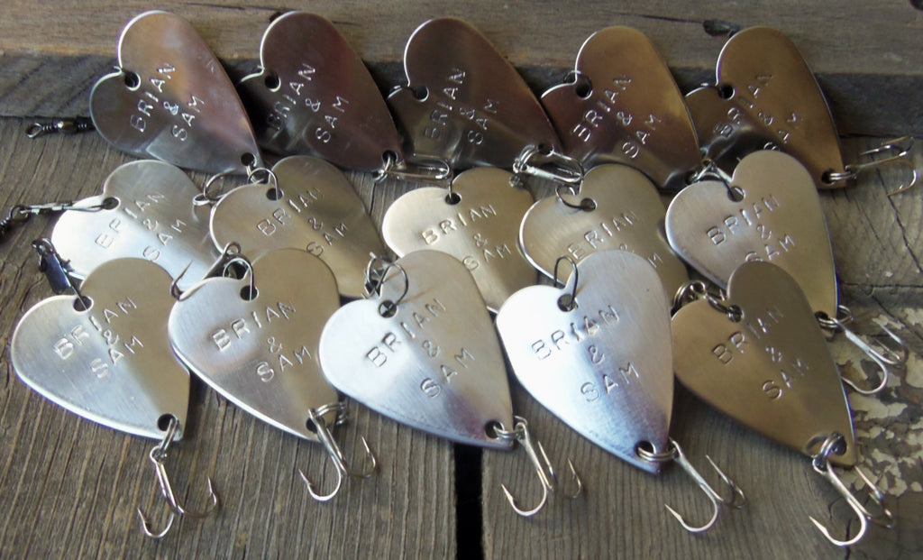 Fifteen Hand Stamped Wedding Favors Bulk Custom Fishing Lures Wedding Day Gift Father of Groom Father of Bride Dad Husband Best Man Trinkets