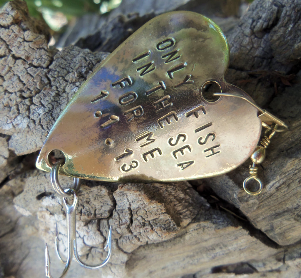 Anniversary Gift for Men Gift for Husband Fishing Custom Fishing Lure Engraved Birthday Beach Ocean Wedding Handstamp Heart Gift Girlfriend