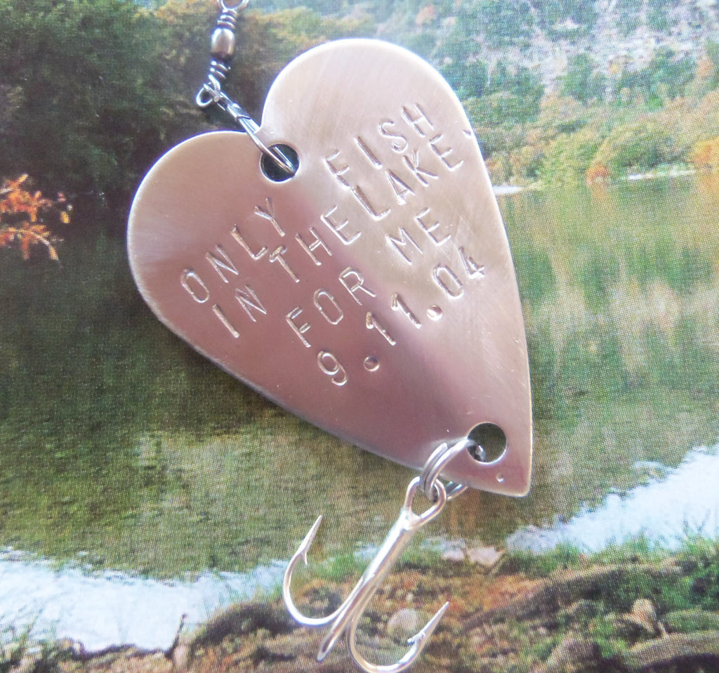 Fiance Gift Outdoor Wedding Lake Fishing Husband Christmas Fisherman Gift Romantic Personalized Fishing Hook Engraved Anniversary Birthday