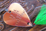 Mens Gift Christmas Handstamped Fishing Lure Husband Holiday Gift for Boyfriend Personalized Dad Brass Copper Bronze Steel Heart Reel Me In