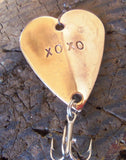 Sun and Sand Wedding Fishing Lure XOXO Smooches Handstamped Heart Customized Gift Husband or Wife Birthday Christmas Holiday Anniversary Men