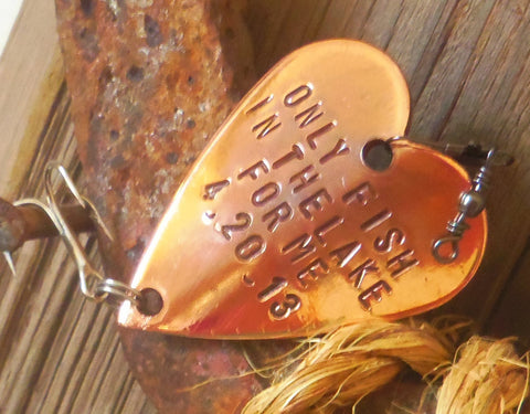 50th Anniversary Gift for Fisherman Fishing Gift For Husband Fishing Lake Wedding Personalized Fishing Hook Copper 7th Anniversary Mens gift