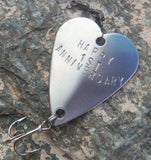 First Anniversary 1st Wedding Anniversary Fishing Gift Handstamped Fishing Lure Custom Personalized Gift for Men Fisherman Guys Husband Wife