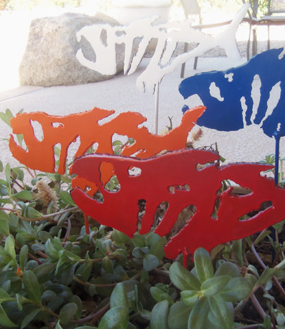 Nautical Fish - Fishing Decor - Painted Metal Plant Stake - Yard Garden Pond Art - Rustic Fish Sculpture - Beach Ocean Lake River Mountain