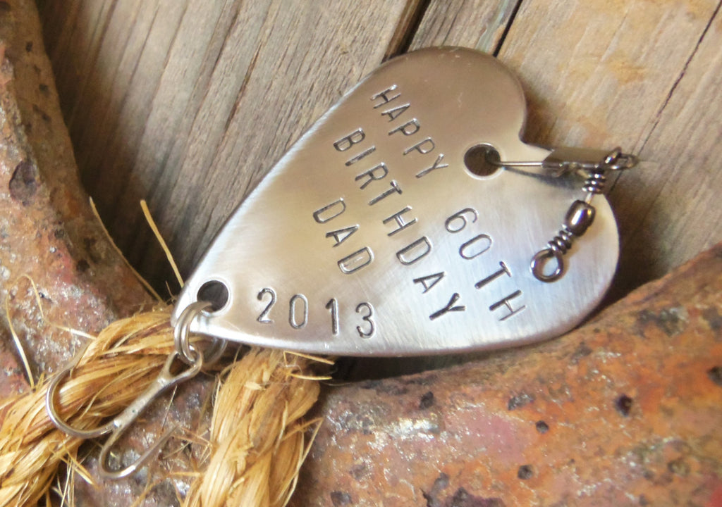 Gift for Papa Happy Birthday 60th Birthday Steel Gift Him Personalize Fishing Lure Custom 50th Birthday 70th Bday 55th 45th 18th Husband Dad