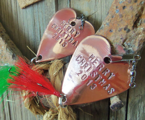 Merry Christmas Happy Holidays Personalized Gift for Boyfriend Fishing Lure Handstamped Blended Family Our First Christmas Brother Sister