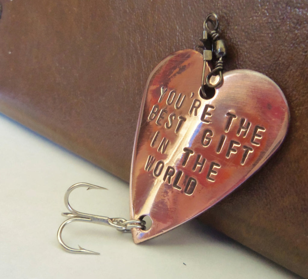 Cool Mens Gifts for Christmas Boyfriend Gift Idea Valentines Day Personalized for Husband Fishing Lure for Him 7th Anniversary Copper Friend