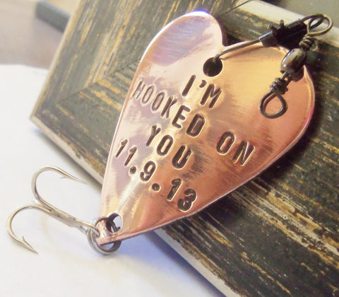 Valentines Day Gift for Your Valentine Idea for Him Personalized Valentine Decor Handstamped Valentine Husband Heart Wedding Fishing Lure