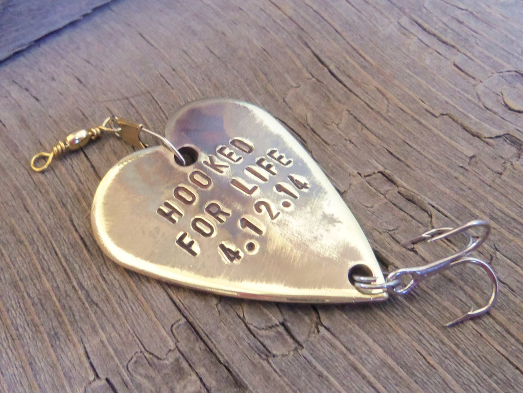 Mens Valentine for Husband Gift for Him Hooked for Life Fishing Lure Sports Personalized Husband Wife Boyfriend Girlfriend Wedding Groom Man