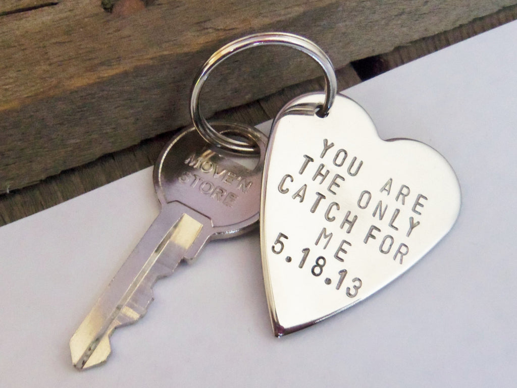 Mens Keychain for Boyfriend Husband Key Chain Personalized Keyring Handstamped Metal Key Ring Anniversary Women Wife Inspirational Birthday