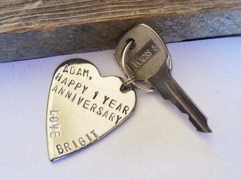 1 Year Anniversary 1st Wedding Anniversary Stamped Metal Keychain Custom Key Chain for him Husband Gifts Wedding Day for Groom Boyfriend Men