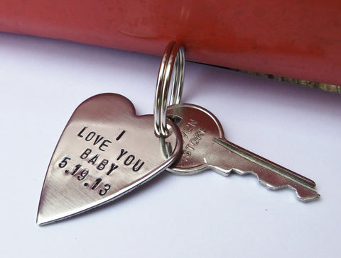 I Love You Baby Mens Keychain Boyfriend Key Chain Keyring for Husband Key ring Girlfriend Personalized Birthday Gifts Women Anniversary Him