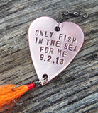 You're the Only Fish in the Sea for Me Wedding Anniversary Gift Beach Wedding Decor Sailing Sailor Boater Fishing Lure Seaside Wedding Favor