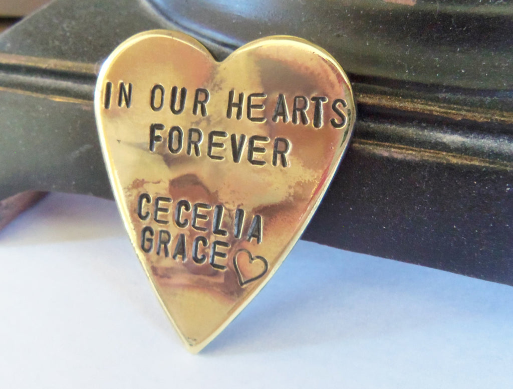 In Our Hearts Forever Memorial Jewelry Personalized Remembrance Gift Sympathy Loss of a Baby Death of Child Son Daughter Dad Mom Grandparent