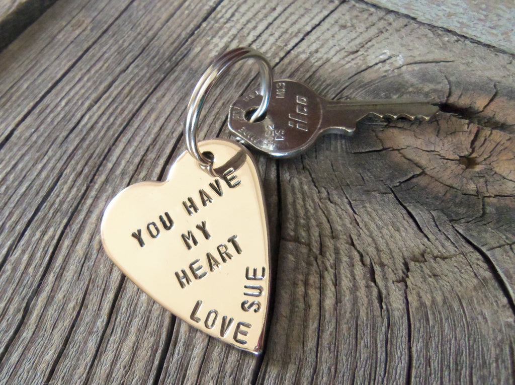 7 Year Anniversary 7th Wedding Anniversary Personalized Metal Keychain for Men Custom Key Chain for Husband Matching Couples His and Hers