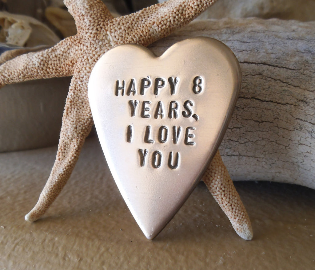 8th Anniversary Large Open Heart 8th Wedding anniversary Bronze Pendant