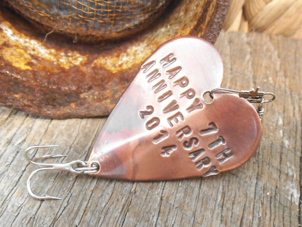 Seventh Anniversary 7th Wedding Anniversary Lucky 7 Copper Gift Him Pe u2013 C and T Custom Lures & Seventh Anniversary 7th Wedding Anniversary Lucky 7 Copper Gift Him ...