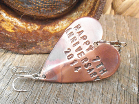 Seventh Anniversary 7th Wedding Anniversary Lucky 7 Copper Gift Him Personalized Fishing Lure Fish Hook Christmas Birthday Husband Wife Men