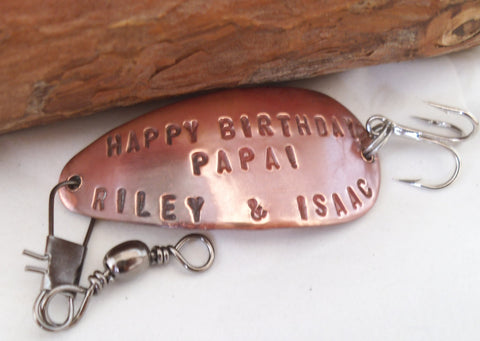 Birthday Gift for Men Christmas for Papa Personalized Fishing Lure Grandpa Grandma Mom Dad Spinner Spoon Bait Grandkids Grandfather Sports