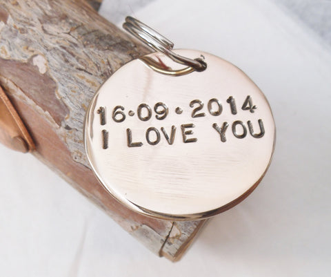 I Love You Keychain Personalized Bronze Jewelry Women Keychain Mom Gift for Boyfriend Anniversary Bronze Gifts for Men Husband Wife Couples