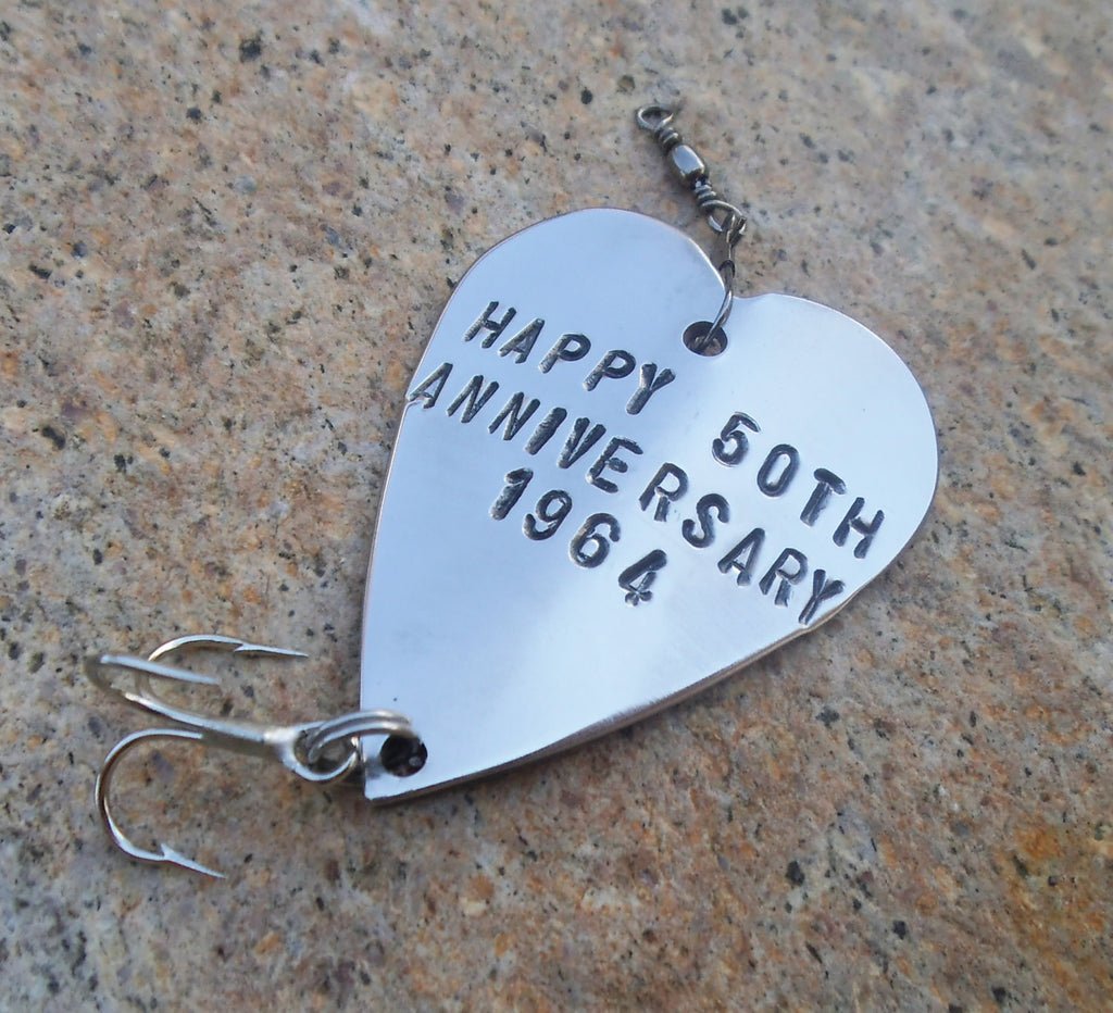 Fiftieth Wedding Anniversary Gift 50th Anniversary Fishing Lure Golden Anniversary Favor Milestone Event Husband Wife Parents Gift Customize