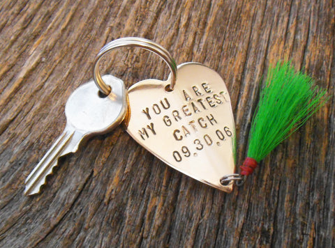 You Are My Greatest Catch and Special Date - Personalized Heart Lure Keychain