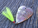 Spooning Since and Date Fishing Lure Stamped Gift for Anniversary Men Women Engraved Spooning Fish Hook Military Homecoming Gift Christmas