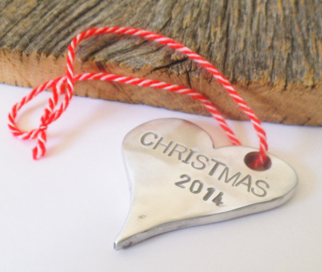 Our First Christmas Ornament 2015 Personalized Christmas Ornament Handstamped Heart Decoration Christmas Tree Door Hanger Stocking Stuffer