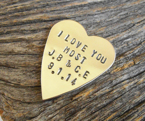 I Love You More I Love you Most Wedding Favor with Initials & Date Wedding Anniversary for Couple Set Matching Pocket Token Clutch Keepsake