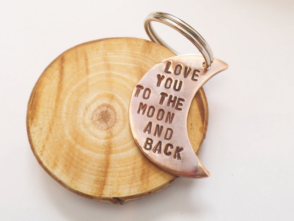 Wedding Jewelry Personalized Keychain for Anniversary Men Women Boyfriend Gift for Girlfriend I Love You To the Moon and Back Copper Him 7th