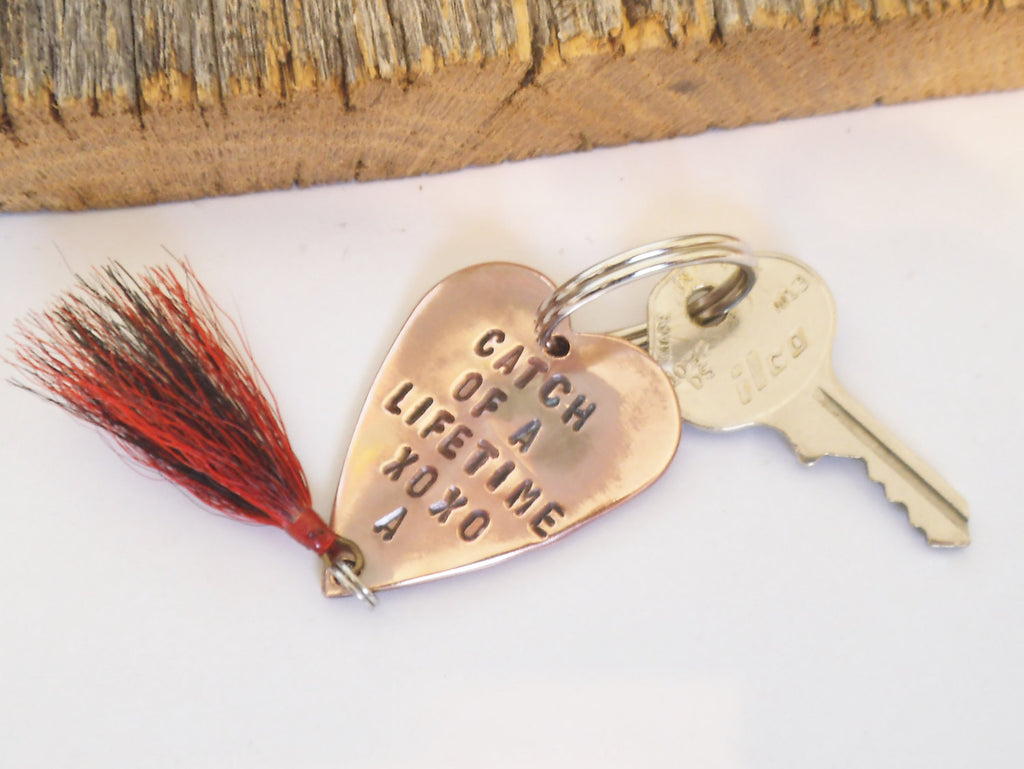 Personalized Keychain for Men Handstamped Key Chain for Him Fishing Keyring for Anniversary Gift Boyfriend Husband Wedding from Bride Fiance