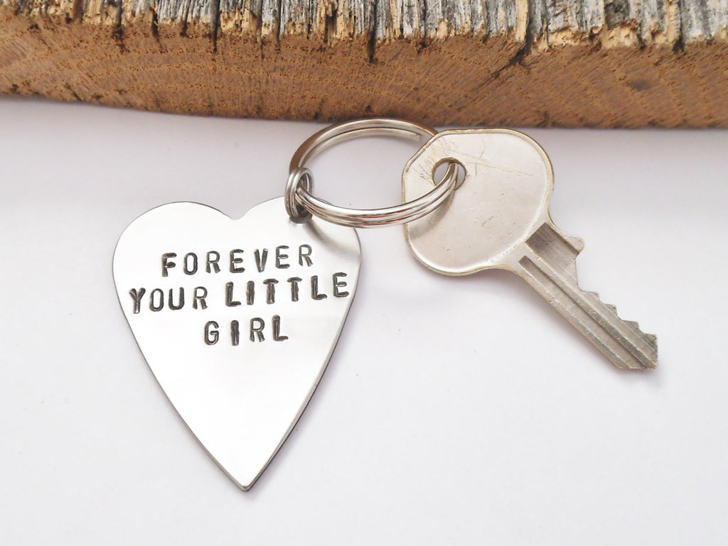 Forever Your Little Girl Keychain Personalized for Dad from Daughter on Wedding Day Gift for Father of the Bride Keyring Customized Metal