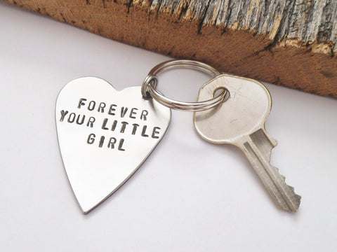 Dad Keychain Wedding Day Keychain Forever Your Little Girl Key Chain Personalized for Dad Daughter Gifts Father of the Bride Keyring for Him