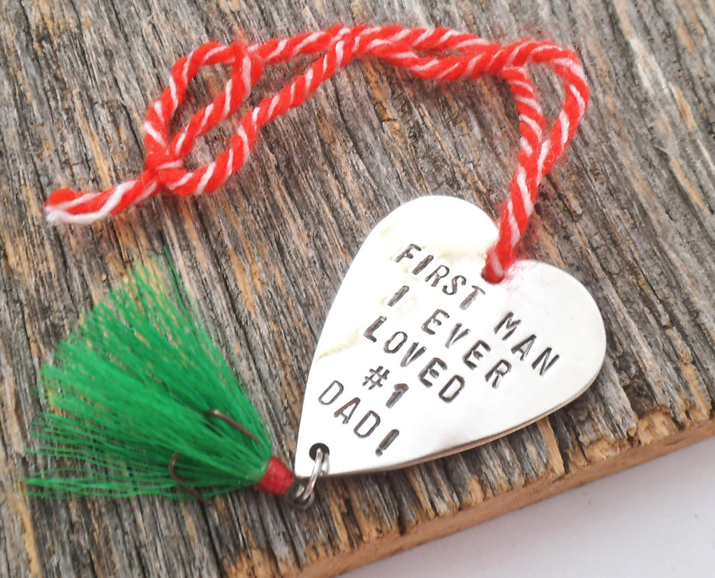 Fisherman Christmas Ornament Holiday Fishing Lure Heart Shape Ornament Dads First Christmas Stocking Stuffer Husband Grandpa Father #1 Daddy