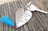 Mens Keychain for Husband Gift for Valentine New Dad Key Chain My Fishing Buddy Fishing Lure Nautical Chain Brother New Baby Metal Accessory