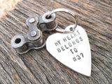 Motorcycle Gift My Heart Belongs to Number Dirt Bike Keychain for Boyfriend Motorcross Gift Motocross Racing Husband Personalized for Son