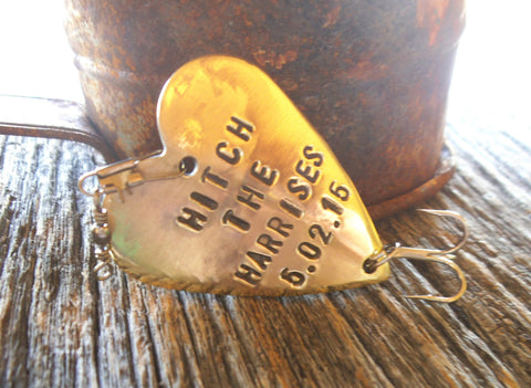 Gift Ideas Getting Hitched Country Western Wedding Theme Just Gettin Hitched On You Fishing Lure Last Name Marriage Date Custom Bride Groom