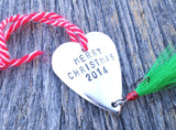 Home Decor Christmas Ornament Personalized Tree Decoration Handstamped Metal Fisherman Fishing Lure Dad Grandpa Stocking Stuffer Husband Men