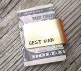 Best Man Gift Money Clip Traditional Wedding Gift for Men Bridal Party Stepdad Stepfather Godparents Custom Money Clip with Names Graduation