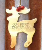 Personalized Our First Christmas Ornament 1st Christmas Mr and Mrs Ornament Handstamp First Year Husband Wife Newlywed Reindeer Decoration